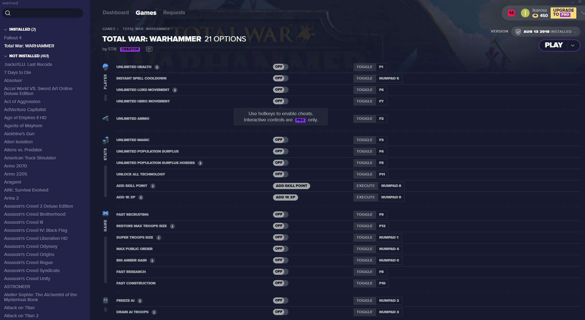 Total War: WARHAMMER Cheats and Trainer for Steam - Trainers - WeMod
