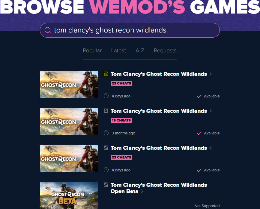 Tom Clancy's Ghost Recon Wildlands Cheats and Trainer for