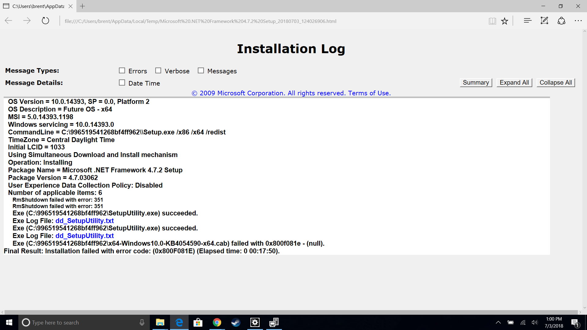 Microsoft .net Framework 220.20 Installation Has Failed With Exit ...